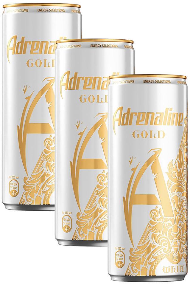 Напиток Adrenaline Gold White энергетический Цитрус-Виноград 330мл (упаковка 3 шт.)