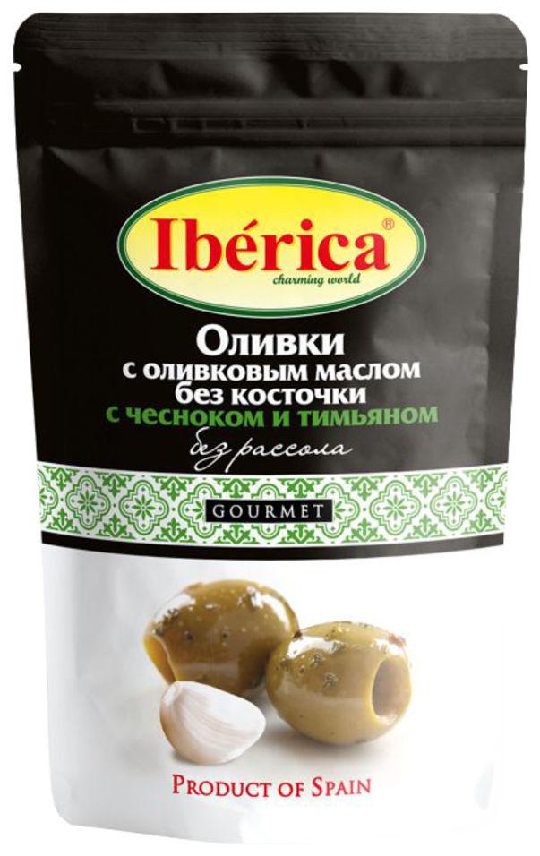 Оливки Iberica с оливковым маслом чесноком и тимьяном 70г
