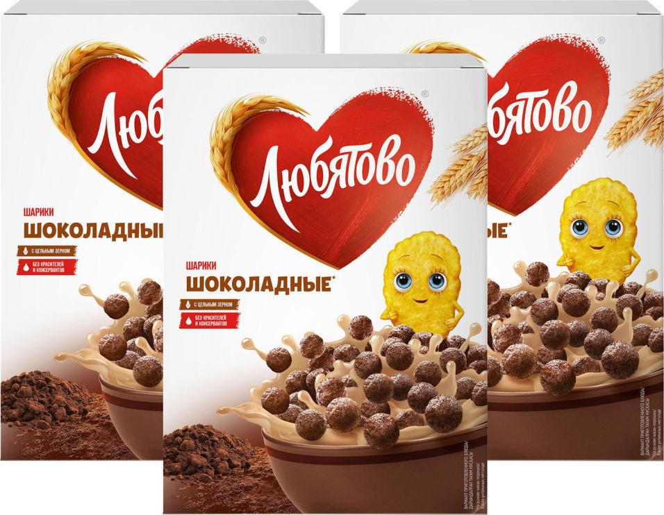 Готовый завтрак Любятово Шарики шоколадные 250г (упаковка 3 шт.)