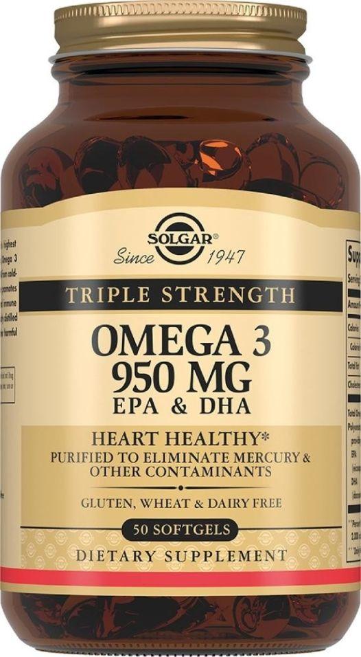 БАД Solgar Тройная Омега-3 950мг 50 таблеток