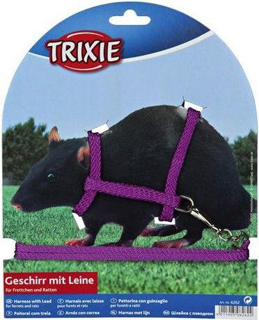 Шлейка для грызунов Trixie жилетка для крысы 12-18см 1.2м