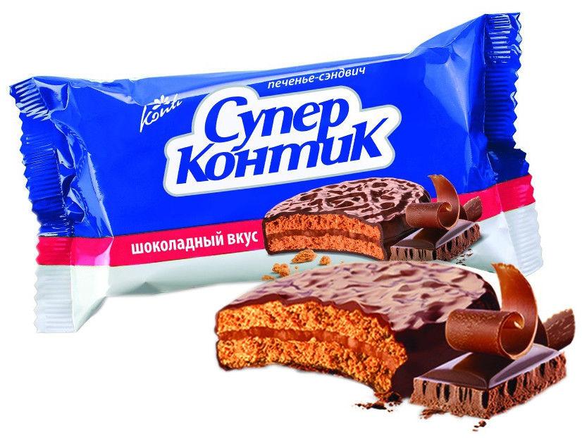 Печенье-сэндвич Konti Супер Контик Шоколадный вкус 100г