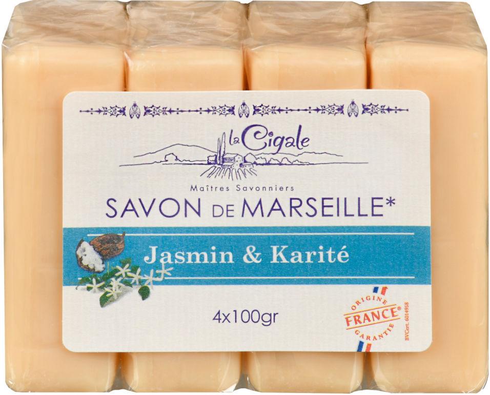Мыло Savon de Marseille Жасмин и Каритэ 4шт*100г