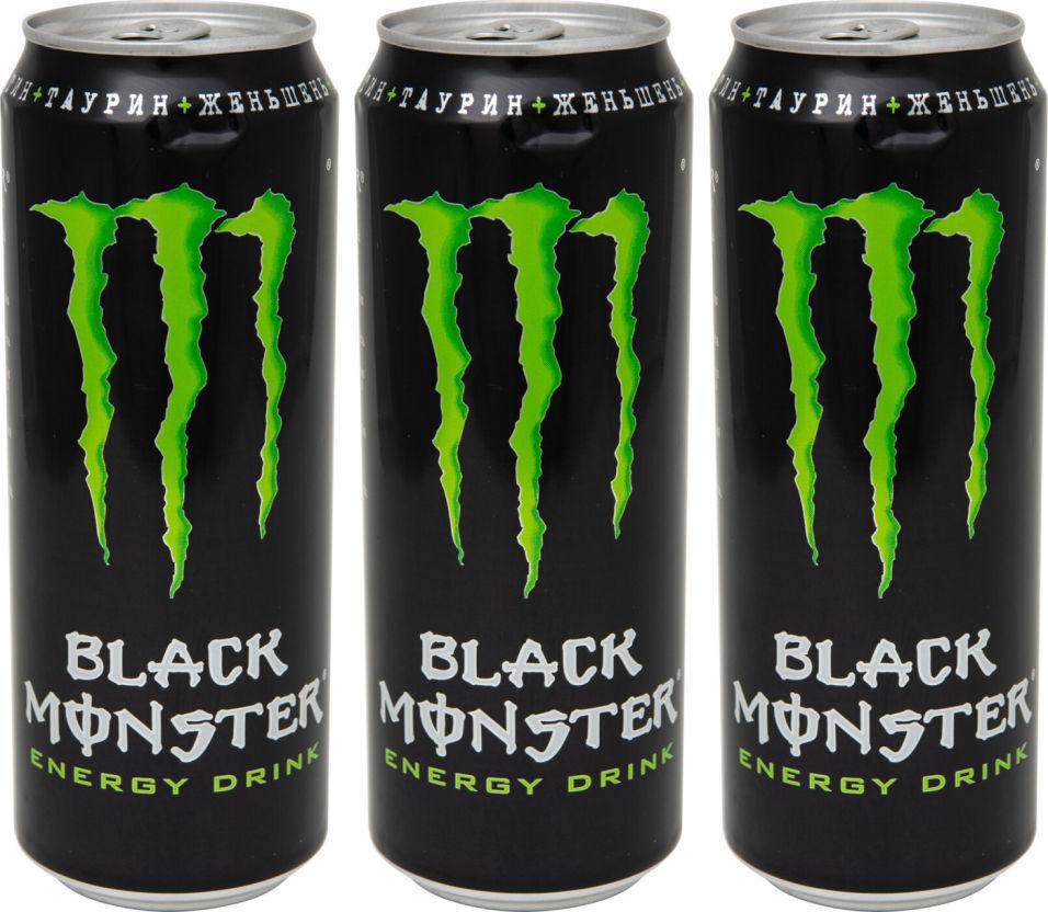 Напиток энергетический Black Monster 449мл (упаковка 3 шт.)