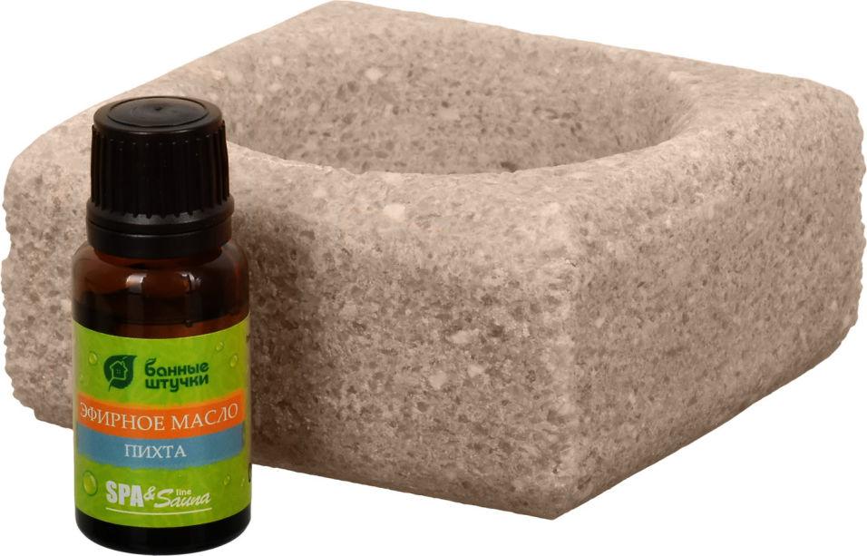 Ароманабор для бани и сауны Банные Штучки Соляной испаритель 700г и Масло эфирное Пихта 15мл