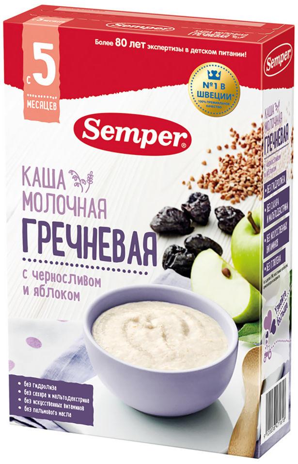 Каша Semper молочная гречневая с черносливом и яблоком с 5 месяцев 180г (упаковка 2 шт.)