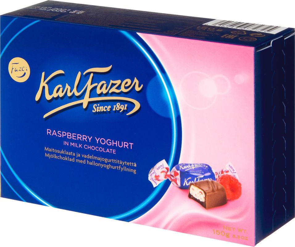Конфеты Karl Fazer Шоколадные с начинкой из малинового йогурта 150г
