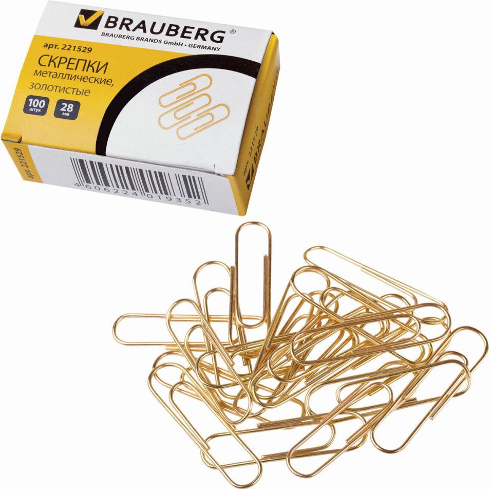 Скрепки Brauberg золотистые 28мм 100шт