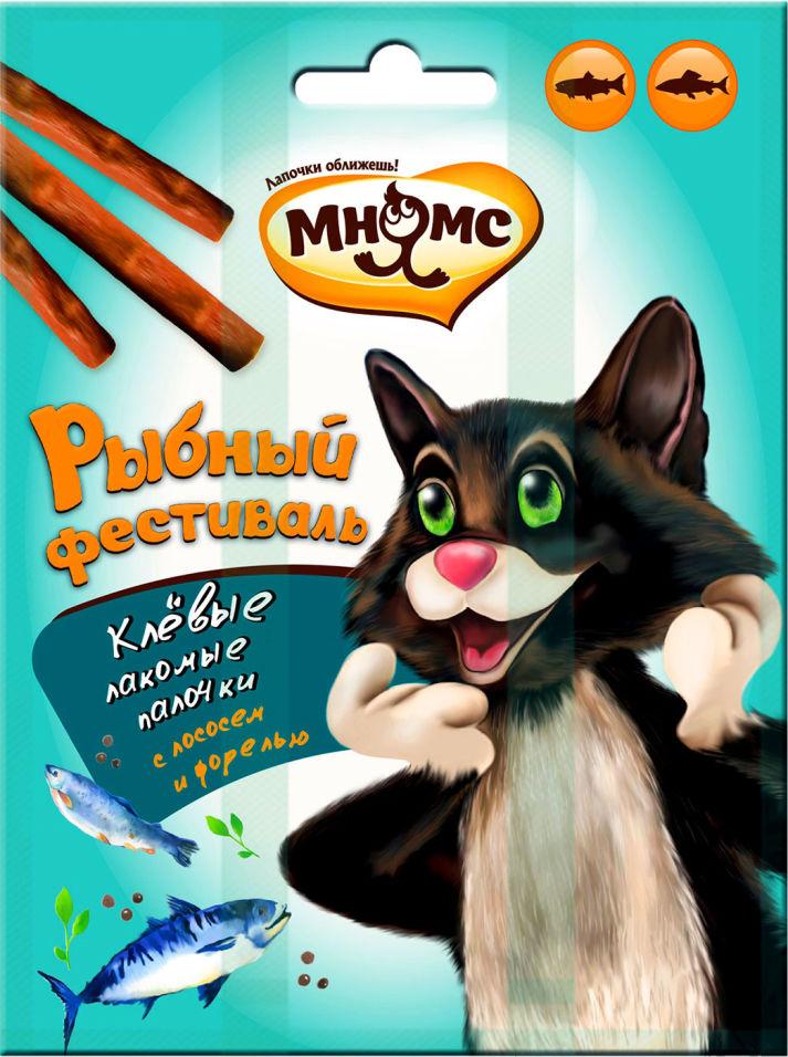 Отзывы о Лакомстве для кошек Мнямс Рыбный фестиваль Лакомые палочки лосось форель 3шт*4г