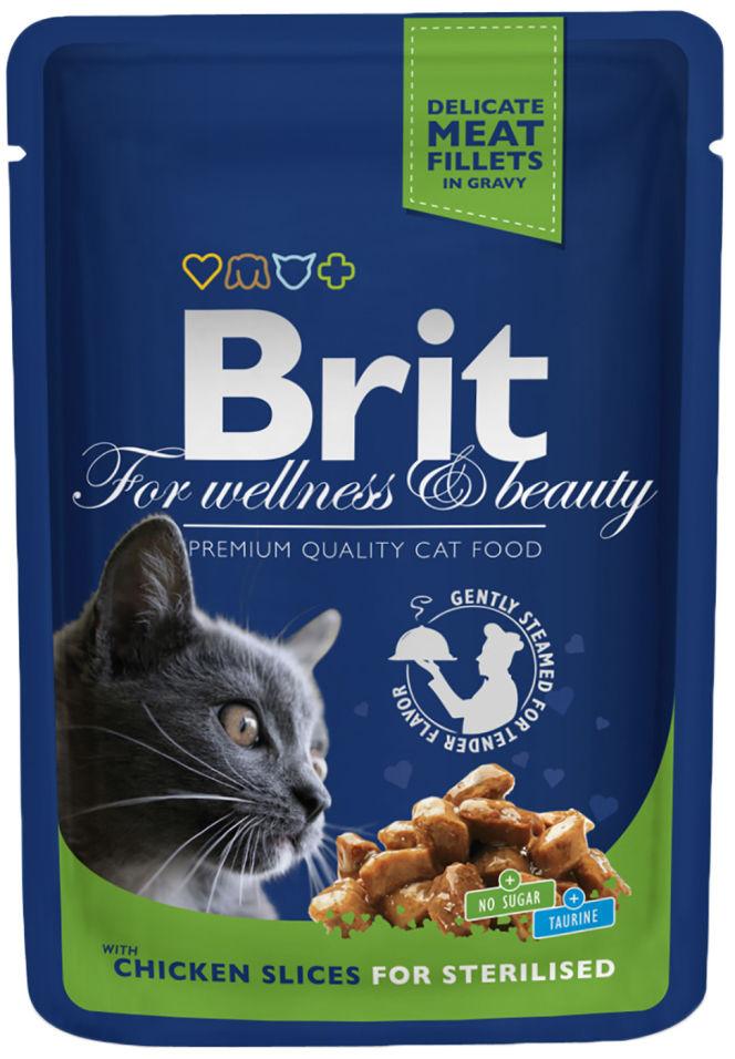 Корм для кошек Brit Premium Кусочки с курицей 100г