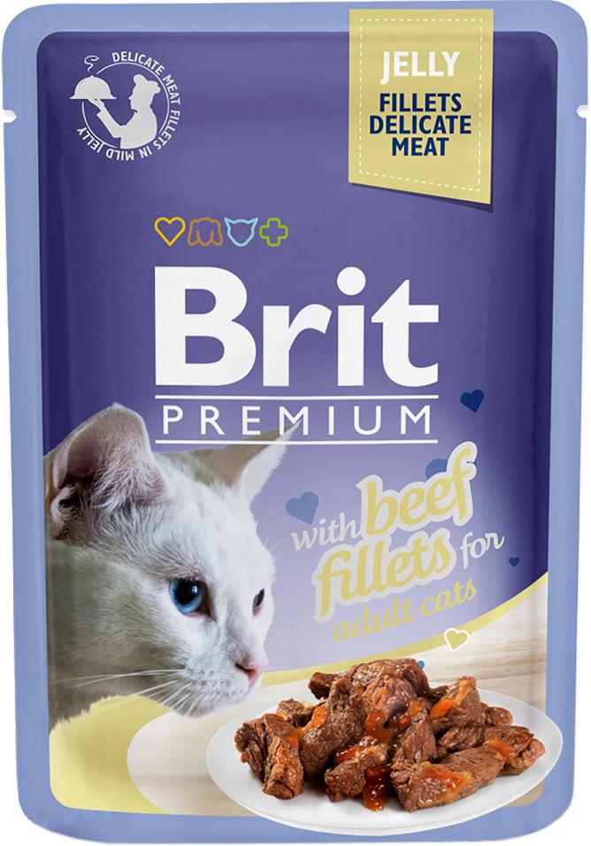 Корм для кошек Brit Premium Говядина желе 85г