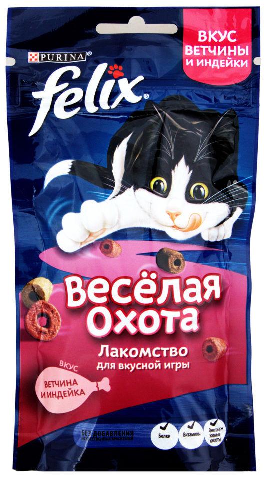 Хрустящее лакомство для кошек Felix ветчина и индейка 50г