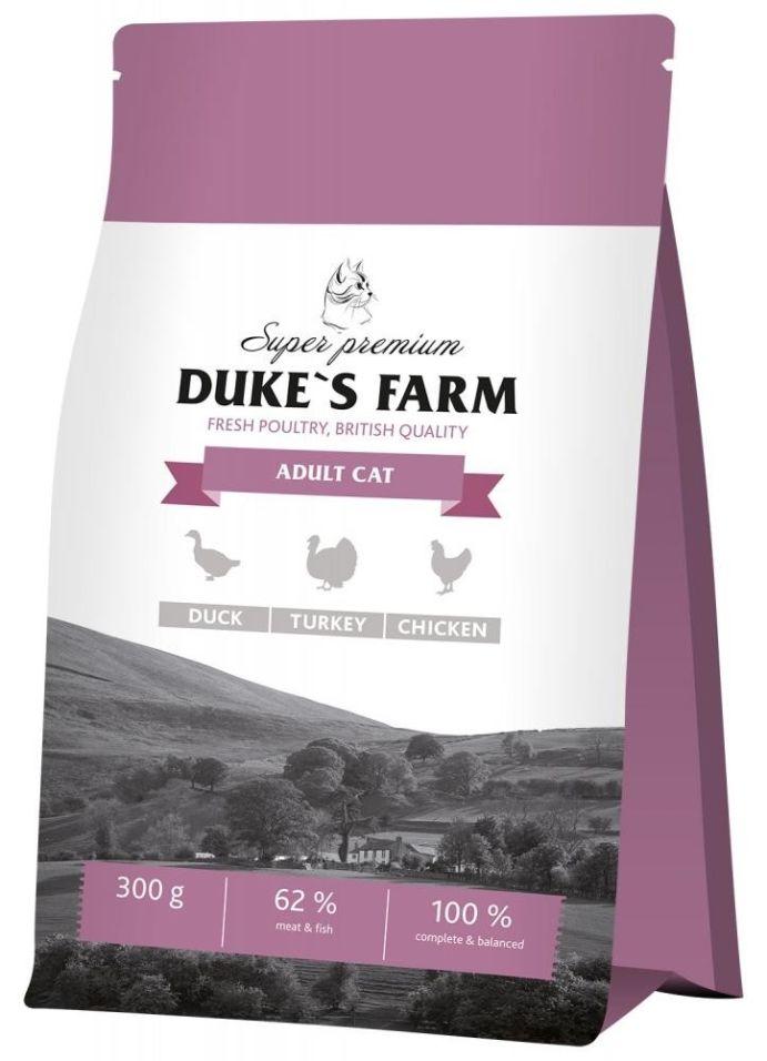 Сухой корм для кошек Dukes Farm Утка курица индейка 300г