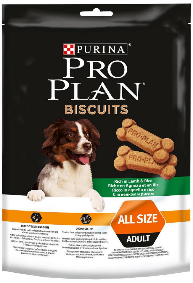 Отзывы о Лакомстве для собак Pro Plan Biscuits All Size Adult с ягненком и рисом 400г