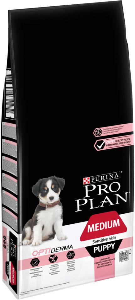 Сухой корм для щенков Pro Plan Optiderma Medium Puppy с лососем и рисом 12кг