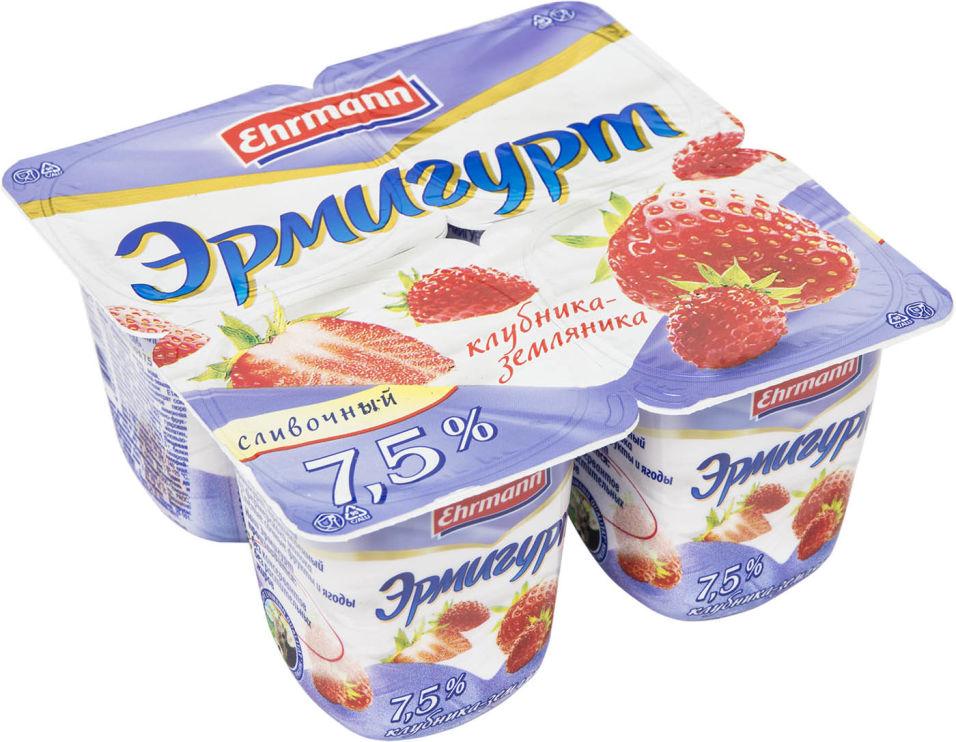 Отзывы о Продукте йогуртном Эрмигурт Клубника-Земляника 7.5% 4шт*100г