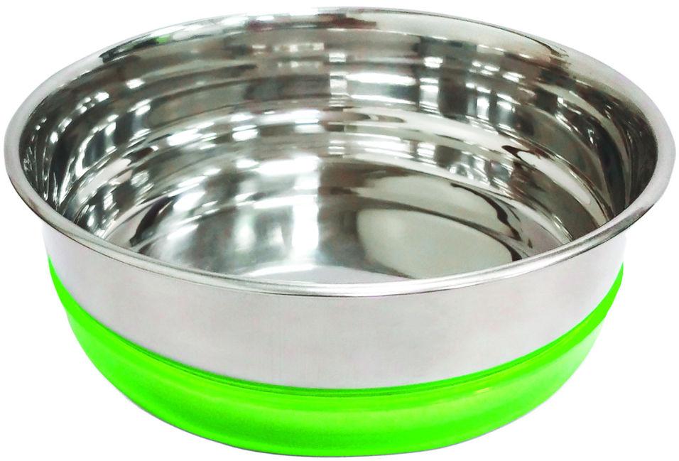 Миска для животных Triol металлическая с салатовой резинкой 300мл