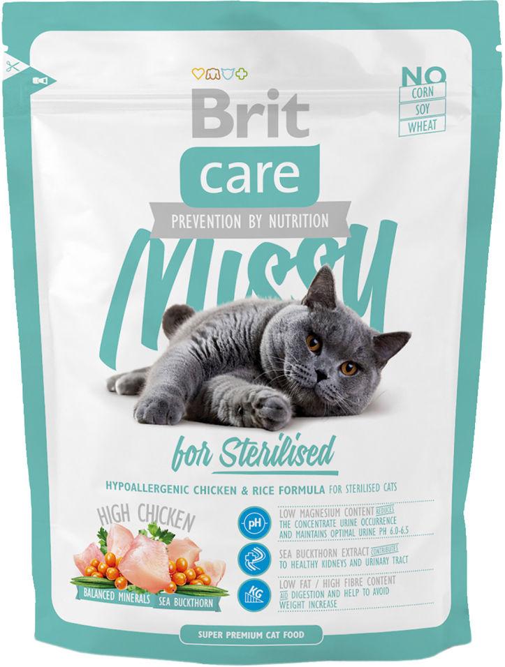 Сухой корм для кошек Brit care для стерилизованных с курицей 400г
