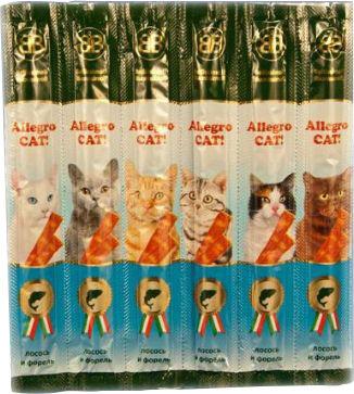 Лакомство для кошек B&B Allegro Cat! Колбаски Лосось форель 6шт