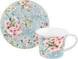 Чайная пара Elan Gallery Яблоневый цвет на голубом чашка и блюдце 270мл