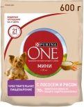 Сухой корм для собак Purina One для чувствительной кожи с лососем и рисом 600г