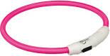 Ошейник светящийся для собак Trixie Мигающее кольцо USB р.M-L нейлон розовый