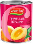 Персики Green Ray Греческие Половинки в легком сиропе 850мл