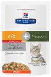 Влажный корм для кошек Hills PD c/d Urinary Stress + Metabolic для лечения МКБ, цистита и при лишнем весе с курицей 85г