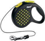 Рулетка для собак Flexi Design XS до 8кг 3м трос черная с желтым горошком