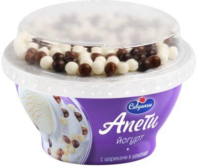Йогурт Апети Пломбир с шариками в шоколаде 5% 105г