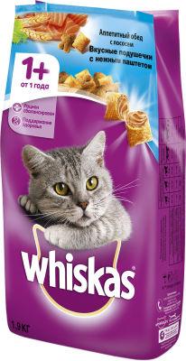 Сухой корм для кошек Whiskas Вкусные подушечки с паштетом Обед с лососем 1.9кг