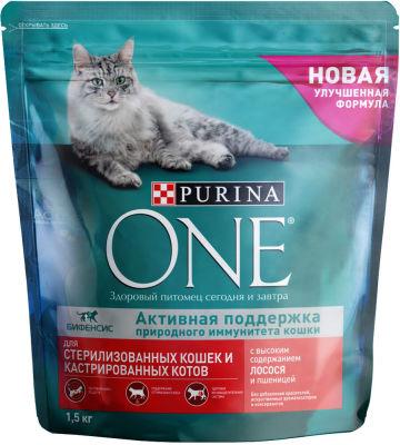 Сухой корм для кошек Purina One для стерилизованных кошек с лососем и пшеницей 1.5кг