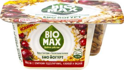 Биойогурт Bio-Max со смесью из мюсли и семян подсолнечника с клюквой и вишней 2.9% 106г