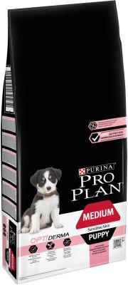 Сухой корм для щенков Pro Plan Optiderma Medium Puppy Sensitive Skin для средних пород для здоровья кожи и шерсти с лососем 12кг