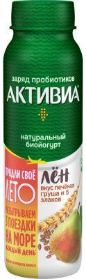 Био йогурт питьевой Активиа с льном печеной грушей и 5 злаками 2.1% 260г