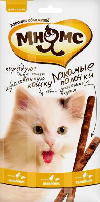Лакомство для кошек Мнямс Лакомые палочки с цыпленком и печенью 13.5см 3шт*5г