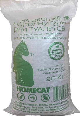 Наполнитель для кошачьего туалета Homecat Древесный 20кг