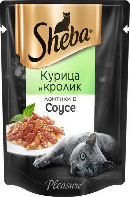 Корм для кошек Sheba Pleasure Ломтики из курицы и кролика в соусе 85г