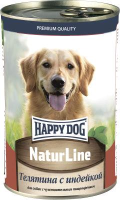 Корм для собак Happy Dog Телятина с индейкой 410г
